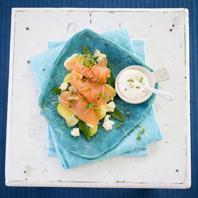 smoked salmon with potato and snow peas