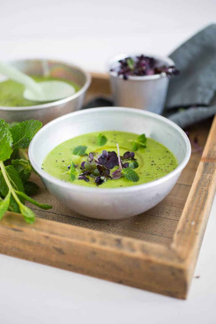 Green Pea soup with microgreens