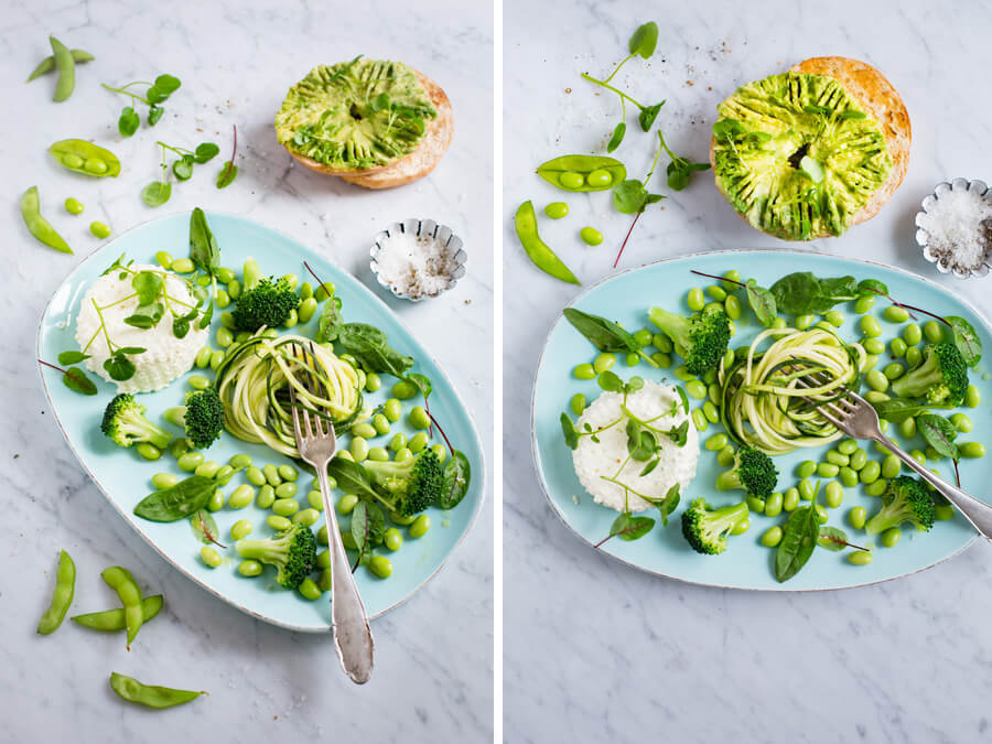 Green salad with homemade ricotta