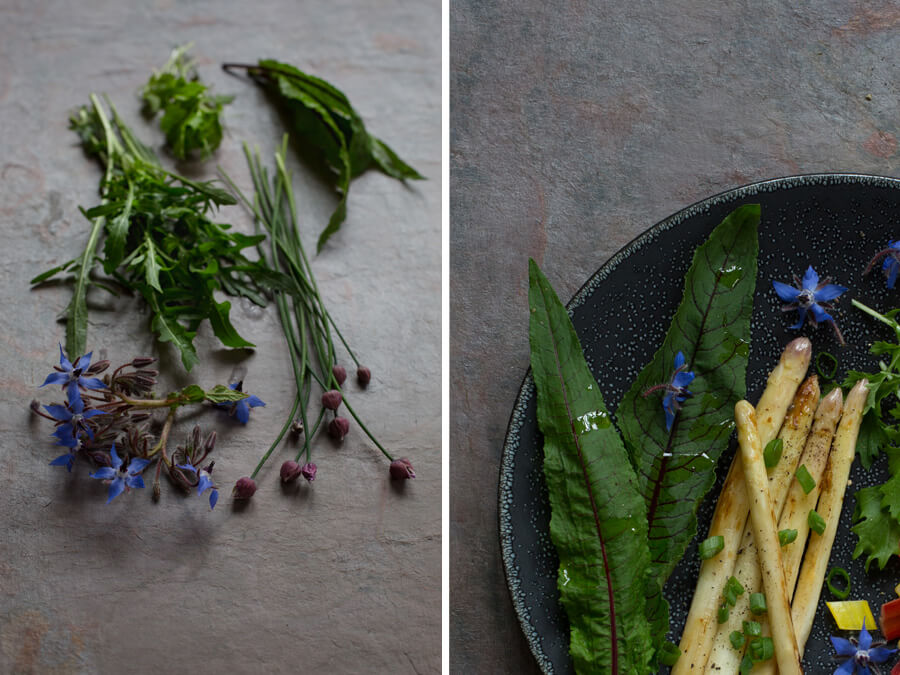 Herbs and asparagus