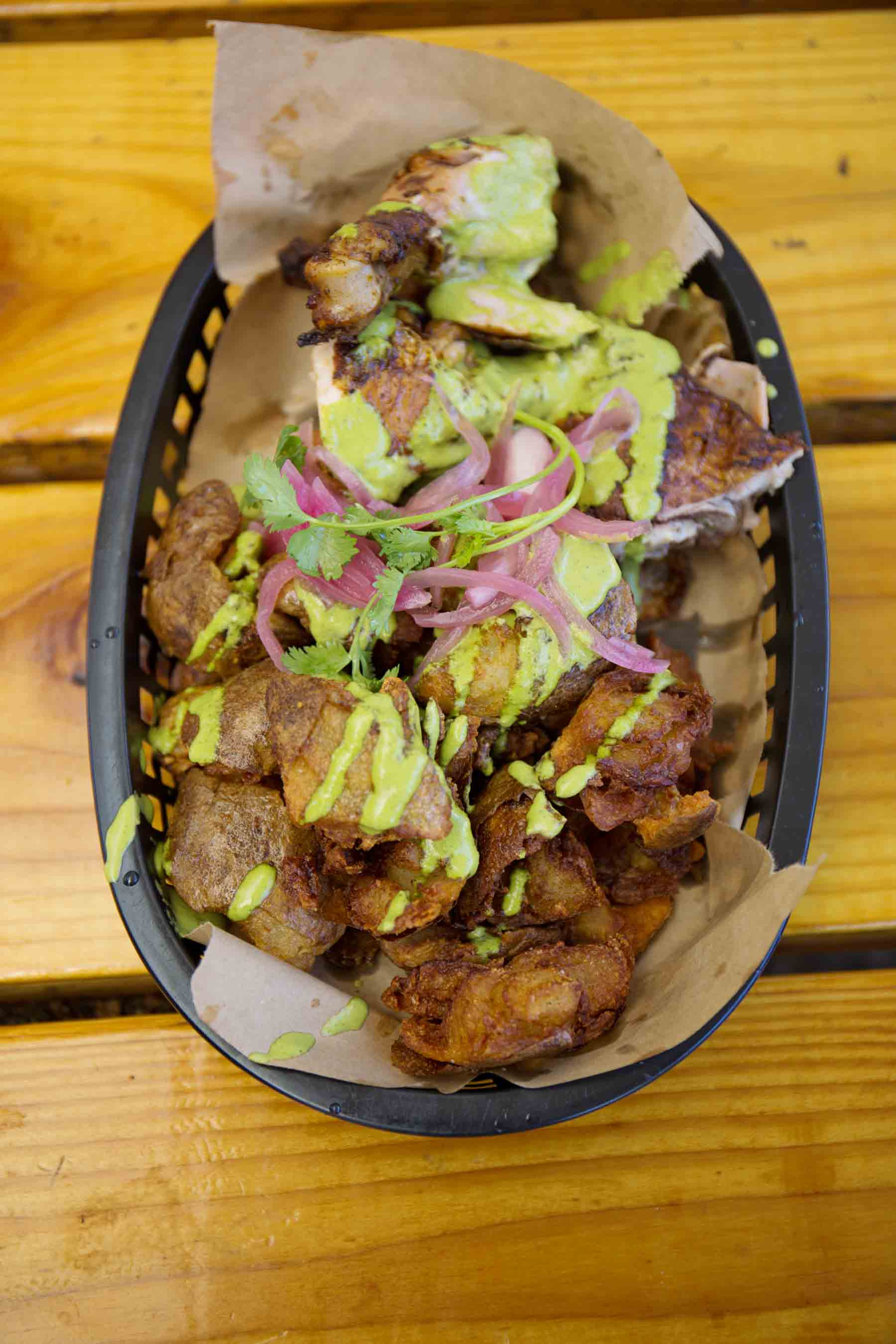 Fried potatoes with guacamole